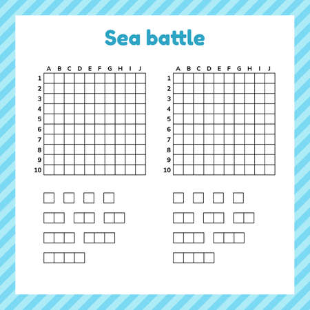 Game for kids. Sea battle. Template page with form and elements for battleship.