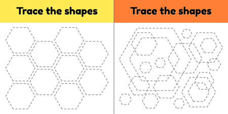 illustration. Educational tracing worksheet for kids kindergarten, preschool and school age. Trace the geometric shape. Dashed lines. hexagon.
