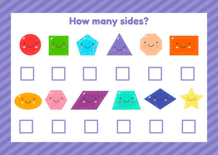 Geometric logical educational game for children of preschool and school age. How many sides Imagens