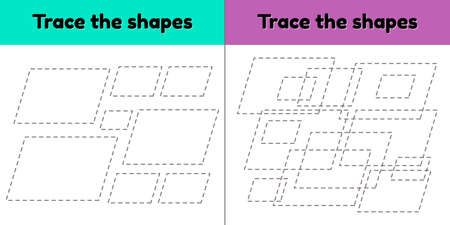 illustration. Educational tracing worksheet for kids kindergarten, preschool and school age. Trace the geometric shape. Dashed lines. Parallelogram.