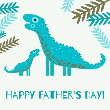 Happy father's day greeting card with cute dinosaurs.