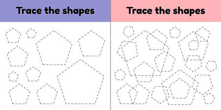 illustration. Educational tracing worksheet for kids kindergarten, preschool and school age. Trace the geometric shape. Dashed lines. pentagon. Imagens
