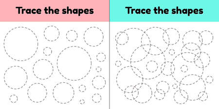 illustration. Educational tracing worksheet for kids kindergarten, preschool and school age. Trace the geometric shape. Dashed lines. Circle. Imagens