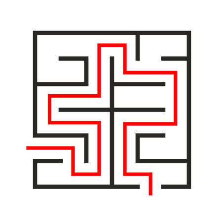 Education logic game labyrinth for kids. Find right way. Isolated simple square maze black line on white background. With the solution. illustration.