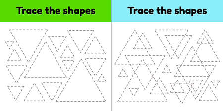 illustration. Educational tracing worksheet for kids kindergarten, preschool and school age. Trace the geometric shape. Dashed lines. Triangle.