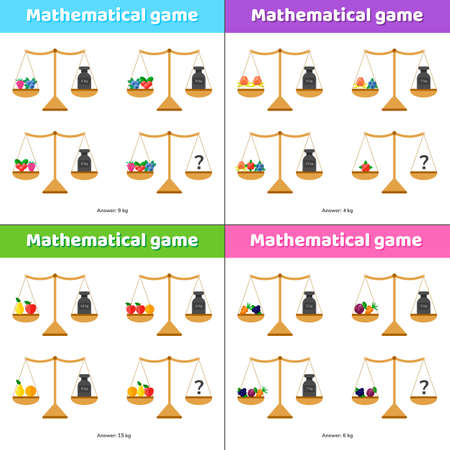 Set math game for kids of school and preschool age. Scales and weights.
