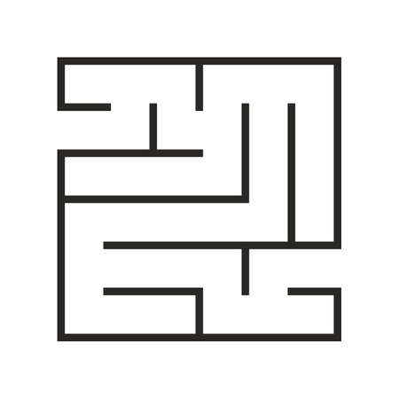 Education logic game labyrinth for kids. Find right way. Isolated simple square maze black line on white background. illustration. Imagens