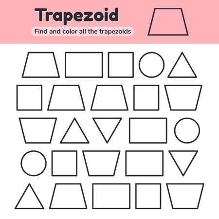illustration. Educational worksheet for kids kindergarten, preschool and school age. Geometric shapes. Rectangle, square, circle, triangle, trapezoid Find and color Imagens
