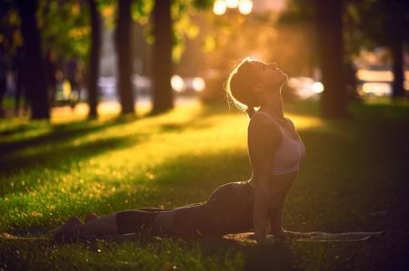 Beautiful young woman practices yoga asana upward facing dog in the park at sunset Stock Photo