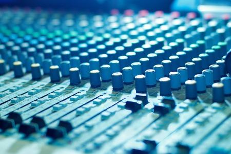 audio mixer: soundmixer, sound control panel in the nightclub