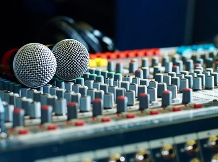 audio mixer: microphones on the soundmixer in the nightclub