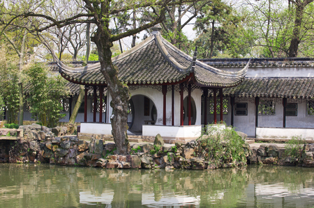 humilde: detail of the Humble Administrators Garden. Suzhou, China Foto de archivo