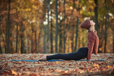 Beautiful young woman practices yoga asana upward facing dog on the wooden deck in the autumn park.