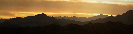 Mountains in the Sinai desert at sunset