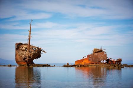 An old abandoned shipwreck. Nabq, Egypt. Stock Photo