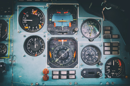 Control panel in a old ussr plane cockpit Stock Photo