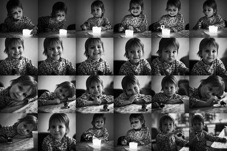 Multiple collage with portraits of a same cute little boy black and white stock
