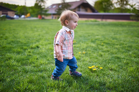 Toddler walking on the green lawn at sunny day Фото со стока