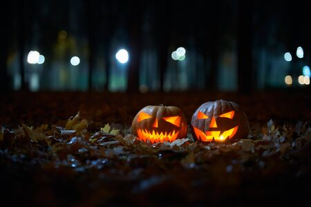 Two glowing Halloween Pumpkins in the park at night.