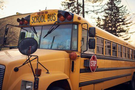 empty school bus near the school was closed for quarantine.