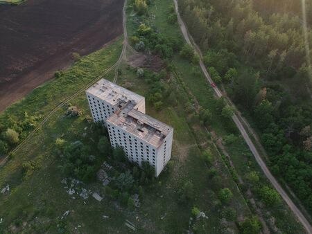 Abandoned construction site of residential building. drone photo.