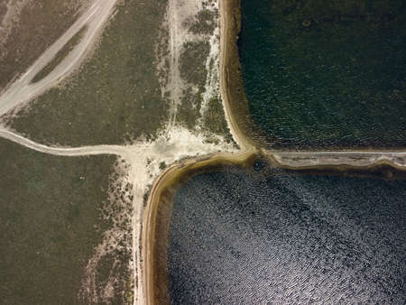 aerial top view of islands and shallows on the Sivash salt lake near the sea of Azov
