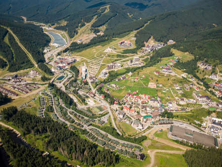 aerial drone view of bukovel in ukrainian carpathian mountains at summer time
