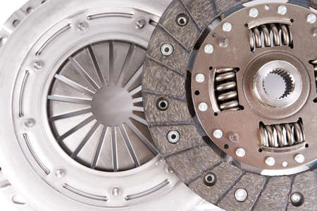 new car clutch kit parts isolated on white. Close up Фото со стока