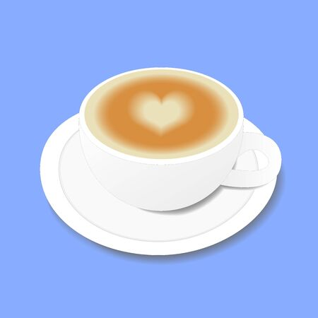 White cup of coffee with a heart pattern. Object isolated on blue background. Vector illustration