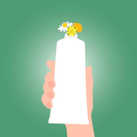 Hand holds a tube with a natural cosmetic product. Medicinal plants come out of the tube. Isolated on green gradient background. Vector illustration for advertising natural organic cosmetics Иллюстрация