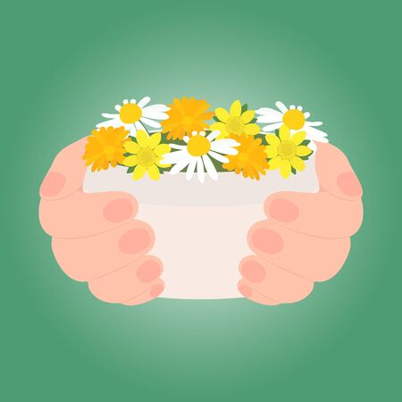 Two hands hold a jar of cosmetic product. Medicinal flowers demonstrate that it is herbal, natural, organic. Isolated on green gradient background.Vector illustration for presentation, advertisement. Иллюстрация