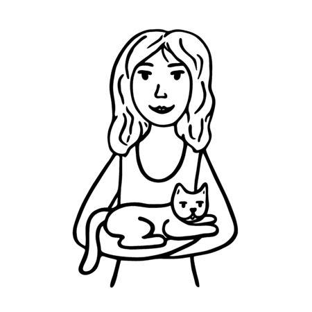 Dibujado a mano joven sostiene un gato en sus brazos. Imagen de abrazos, cariño, amistad y amor. Contorno negro aislado sobre fondo blanco. Ilustración de vector de carteles, tarjetas, decoración, para los amantes de los gatos. Ilustración de vector