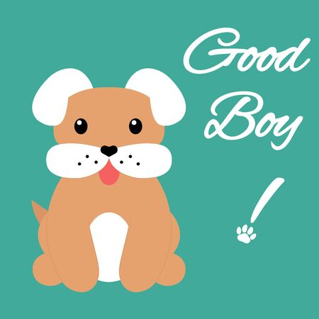 A cute brown and white dog with a heart-shaped nose is sitting and rejoices. Hes a good boy. Cartoon character isolated on a turquoise background. Vector illustration for prints, cards, decor.