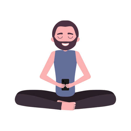 Smiling man with beard holding smartphone in his hands and sitting in lotus position. Person isolated on white background. Vector illustration for postcards, posters, design, advertising
