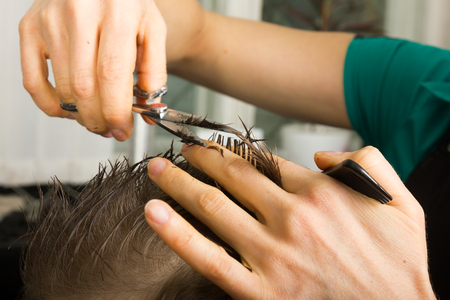 hairdressing: hairdresser  cuts   hair  with scissors on crown of handsome satisfied  client in  professional  hairdressing salon Stock Photo