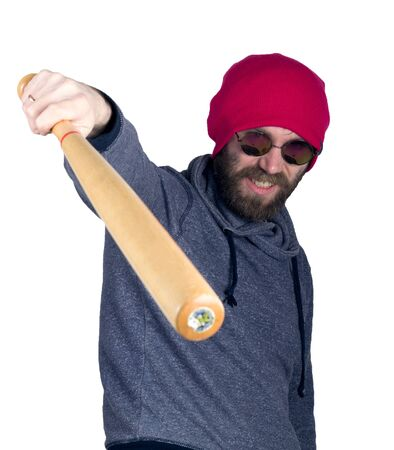 brandishing: Fashion hipster cool man in sunglasses and colorful clothes brandishing a baseball bat. Stock Photo