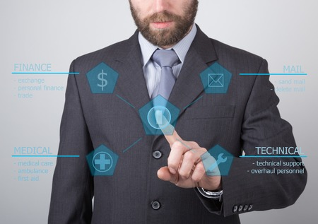press agent: technology, internet and networking concept - businessman pressing technical support button on virtual screens. Internet technologies in business.