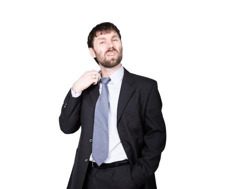 desconfianza: gestos desconf�an de mentiras. lenguaje corporal. el hombre en traje de negocios, gesto tirando del cuello. aislado sobre fondo blanco. concepto de verdadero o falso.