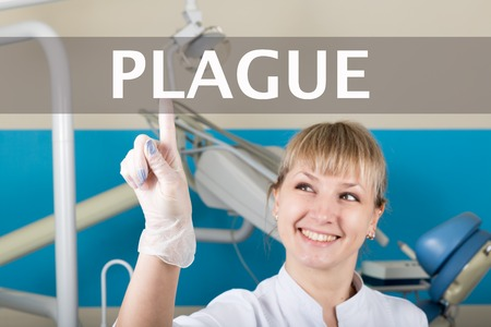 plague: technology, internet and networking in medicine concept - medical doctor presses plague button on virtual screens. Internet technologies in medicine.
