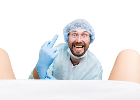 gynecologist: crazy gynecologist examines a patient. mad doctor expression different emotions and makes different hands signs.