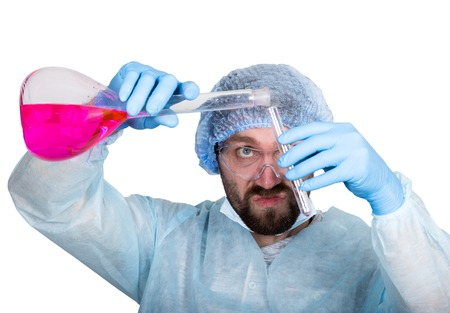 Funny crazy emotional chemist with flask. mad scientist in his laboratory experimenting on secret formulas Stock Photo