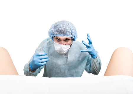 crazy gynecologist examines a patient. mad doctor expression different emotions and makes different hands signs.