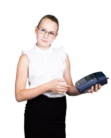 pay for: young girl in a business suit, offers e-card to pay for purchases.