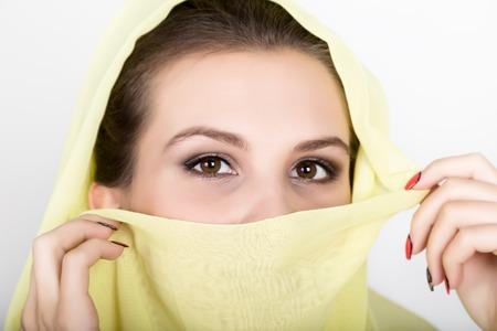 Young beautiful woman wearing hijab, stylish female portrait Stock Photo