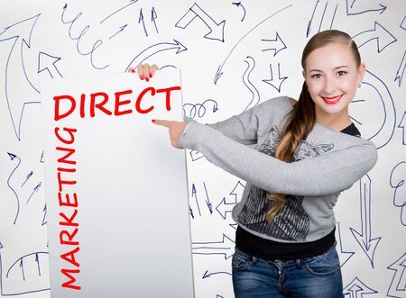 Young woman holding whiteboard with writing word: direct marketing. Technology, internet, business and marketing.