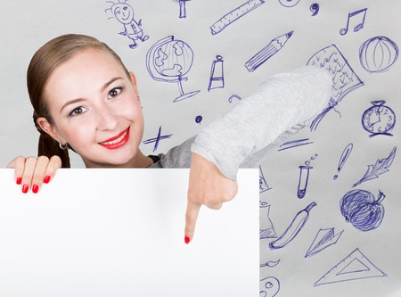 Young woman holding whiteboard with writing word: white form. Technology, internet, business and marketing. Stock Photo