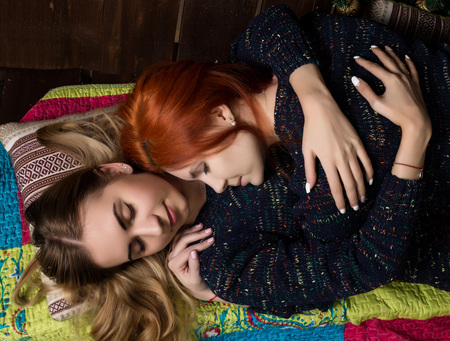 two pretty lesbian girlfriends kissing and hugging in a cozy atmosphere Stock fotó