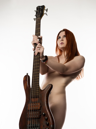 Nude bass player girl — pic 14