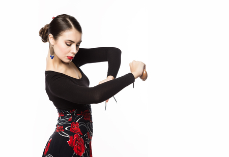 flamenco dancer on a light background. free space for your text