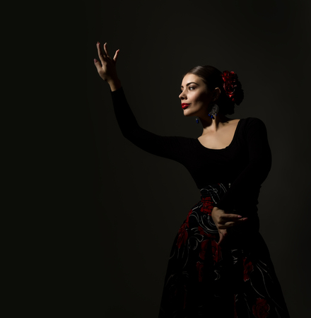 flamenco dancer on a dark background. free space for your text